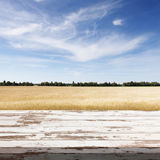 Table en bois de conseil devant le champ du blé sur le fond d'été Préparez pour des montages d'affichage de produit Photographie stock