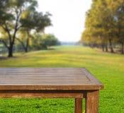 Table en bois de dessus vide de l'espace libre sur le champ d'herbe verte contre le soleil Images stock