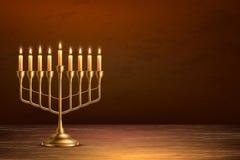 Table en bois de menorah juif de vacances de Hanoucca de vecteur illustration stock