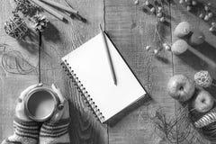 Table en bois rustique avec le carnet de bobine vide et le crayon, automne De Photographie stock libre de droits