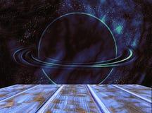 Table en bois vide dans la perspective d'un paysage cosmique illustration de vecteur