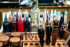 Table en cuir de craftman photos libres de droits