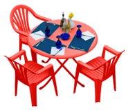 Table en plastique rouge avec des chaises d'isolement sur le blanc Image libre de droits
