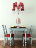 Table et lampe étendues Photos stock