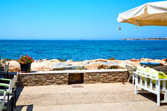 Table in  europe greece old restaurant  summer Royalty Free Stock Images