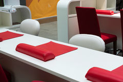 Table for express manicure at mall. Table for express manicure at the mall Royalty Free Stock Photo