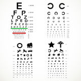 Table for eye tests the adult and childrens option Royalty Free Stock Image