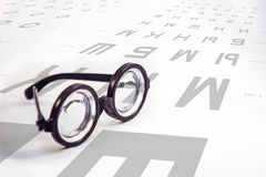 Table for eye tests and glasses with thick lenses. Table for eye tests and glasses stock photo