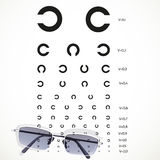 Table for eye tests with glasses Royalty Free Stock Photography