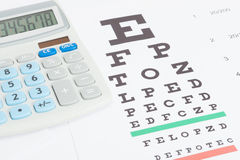 Table for eyesight test with calculator over it Stock Images