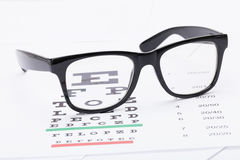 Table for eyesight test and neat glasses over it - close up studio shot Royalty Free Stock Photos