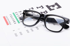 Table for eyesight test with neat glasses over it - close up studio shot Stock Images