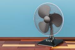 Table fan, on the wooden floor, 3D rendering vector illustration