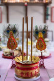 A table feast  and prop on chinese new year to respect the ancestor and celebrate Royalty Free Stock Images