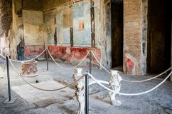 Table finely worked in a Domus of Pompeii. Royalty Free Stock Photos