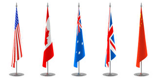 Table Flags Collection. A collection of table or floor flags. USA, Canada, Australia, United Kingdom and China flags. Check also the other collection for other Royalty Free Stock Photography