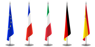 Table Flags Collection Europe. A collection of table or floor flags. European Union, France, Italy, Germany and Spain flags. Check also the other collection for Royalty Free Stock Photography