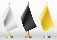 Table flags in three different colour Royalty Free Stock Image