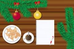 Table fleurie de Noël avec le concept de papier blanc Photographie stock libre de droits