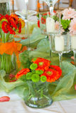Table with flowers Royalty Free Stock Photos