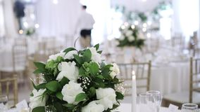 Table flowers decoration stock video