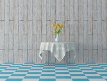 Table with flowers in empty room with blue tiles Stock Photography