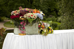 Table with flowers in parks for gifts Royalty Free Stock Images