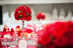 Table flowers. Wedding Table flowers and table set Royalty Free Stock Images
