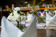 Table flowers. Wedding Table flowers and table set Stock Photography