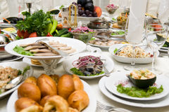 Table with food. And drinks Royalty Free Stock Image
