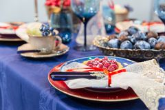 Table with food decoration closeup, nobody Royalty Free Stock Image
