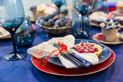 Table with food decoration closeup, nobody Stock Photos