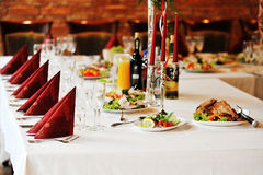 Table with food and drink stock images