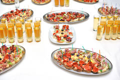 Table with food and drink Royalty Free Stock Photos