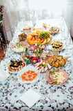 Table with food and drink. traditional wedding Stock Photo