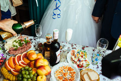 Table with food and drink. traditional wedding Royalty Free Stock Photography