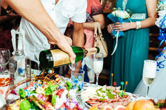 Table with food and drink. traditional wedding Royalty Free Stock Photo