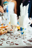 Table with food and drink. traditional wedding Stock Photos