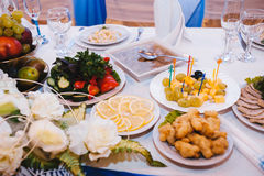 Table with food and drink. traditional wedding Stock Images