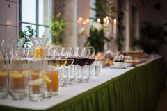 Table of food. Table full of food and drinks Royalty Free Stock Photography