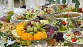 Table with food on the wedding stock video footage