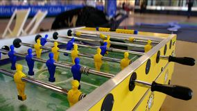 Table football foosball no people and nobody play italian classic game Biliardino or Calcio Balilla in Bologna, Italy. Circa Sep 2019 stock footage