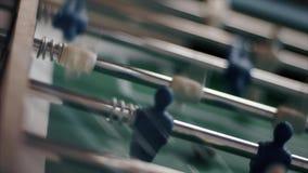 Classic aged Foosball table. Table football foosball soccer game, aka kicker stock video footage
