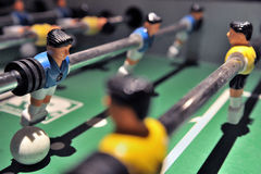 Table football game. Close up of opposing teams in table football game Royalty Free Stock Photos