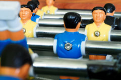 Table football game. Closeup of players on table soccer or football game Stock Photo