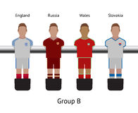 Table football game. foosball soccer player set. England, Russia, Wales, Slovakia Royalty Free Stock Photos