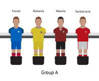 Table football game. foosball soccer player set. France, Romania, Albania, Switzerland Royalty Free Stock Photo