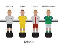 Table football game. foosball soccer player set. Germany, Ukraine, Poland, Northern Ireland Stock Photos