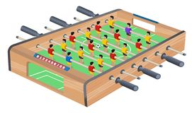 Table Football Game Hobby or Leisure Isometric View. Wooden Table Soccer. Sport team football players. For entertainment sports. royalty free illustration