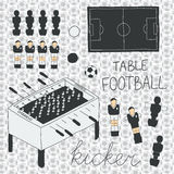 Table football icons set.  Vector illustration Stock Images